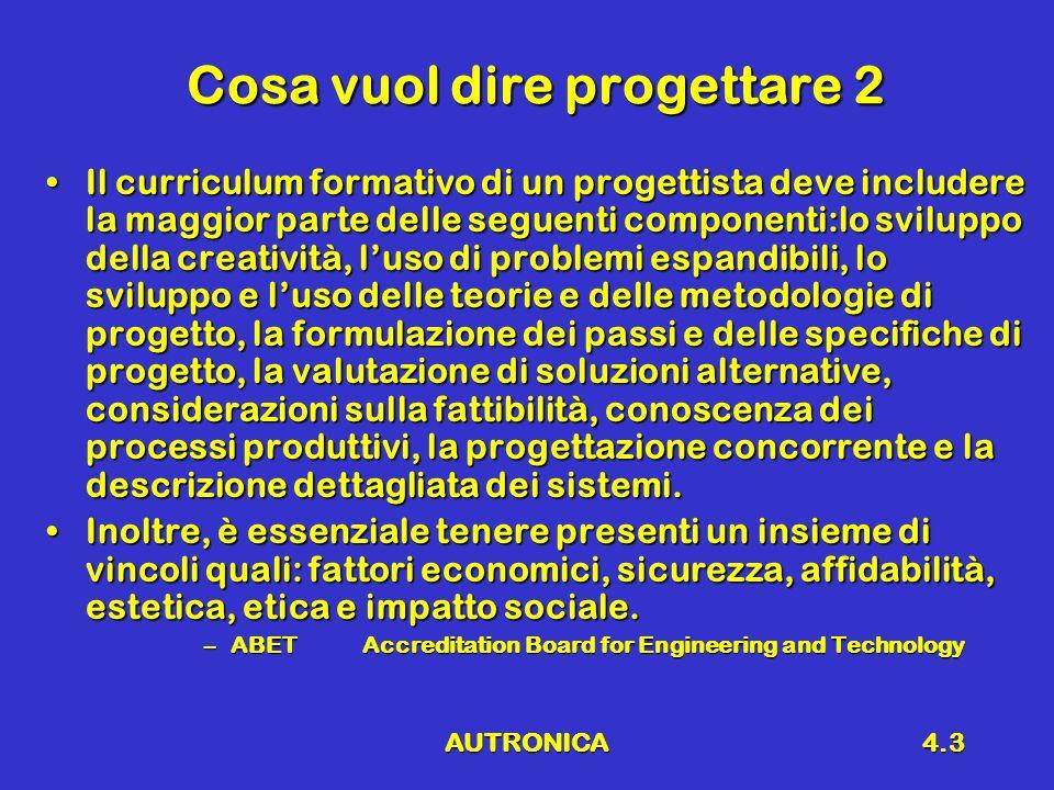 AUTRONICA4.4 Progetto a livello di sistema 1.Descrizione generale del prodotto 2.Definizione delle specifiche 3.Diagramma a blocchi 4.Definizione delle specifiche dei blocchi 5.Sintesi dei blocchi 6.Integrazione dellintero sistema 7.Simulazione e modellizzazione 8.Realizzazione del prototipo 9.Collaudo e verifica