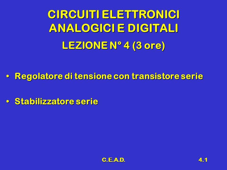 C.E.A.D.4.1 CIRCUITI ELETTRONICI ANALOGICI E DIGITALI LEZIONE N° 4 (3 ore) Regolatore di tensione con transistore serieRegolatore di tensione con tran