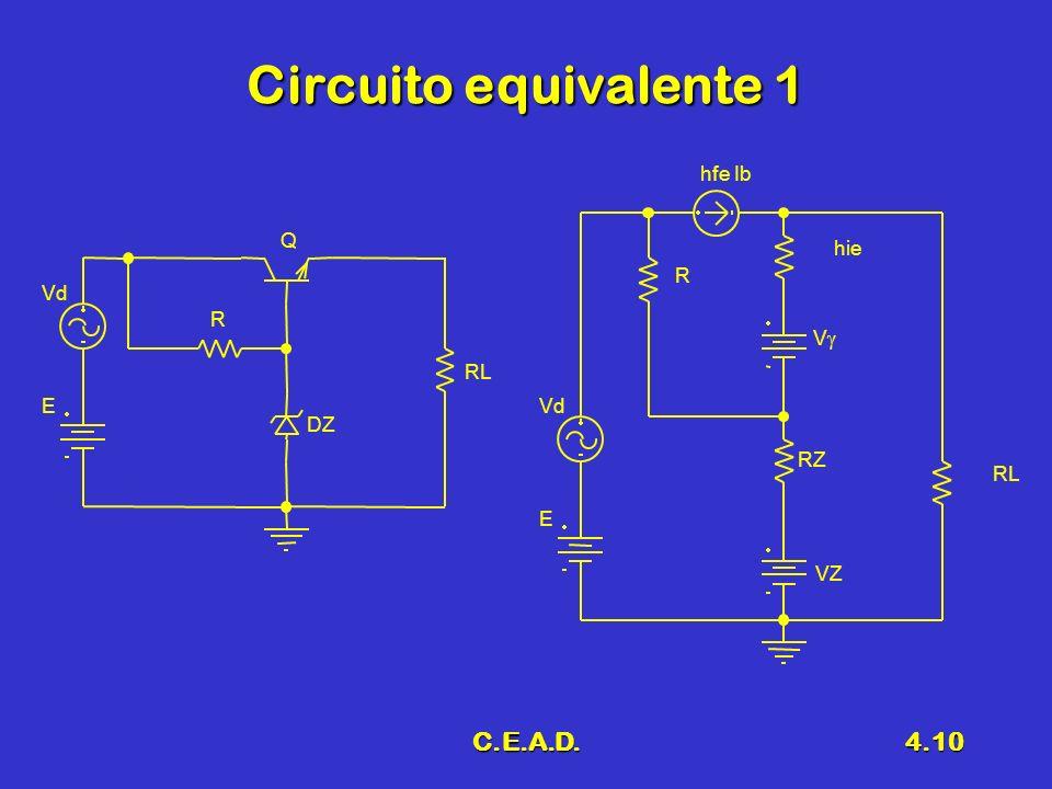C.E.A.D.4.10 Circuito equivalente 1 Q DZ R RL Vd E E RL hie RZ VZ R hfe Ib V