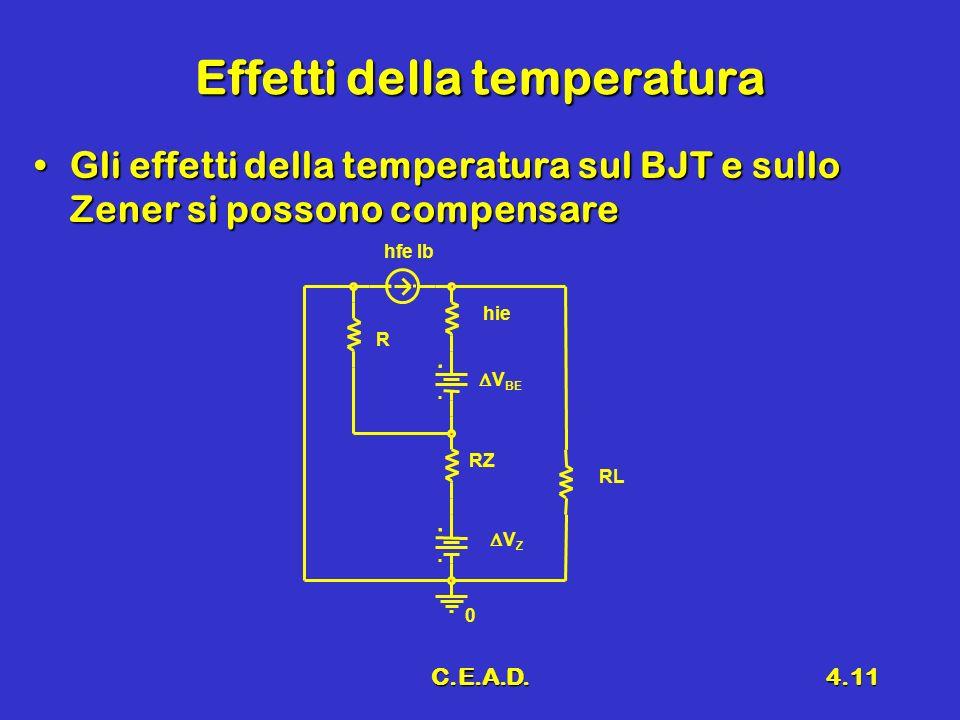 C.E.A.D.4.11 Effetti della temperatura Gli effetti della temperatura sul BJT e sullo Zener si possono compensareGli effetti della temperatura sul BJT
