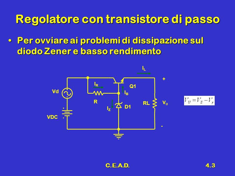 C.E.A.D.4.3 Regolatore con transistore di passo Per ovviare ai problemi di dissipazione sul diodo Zener e basso rendimentoPer ovviare ai problemi di d