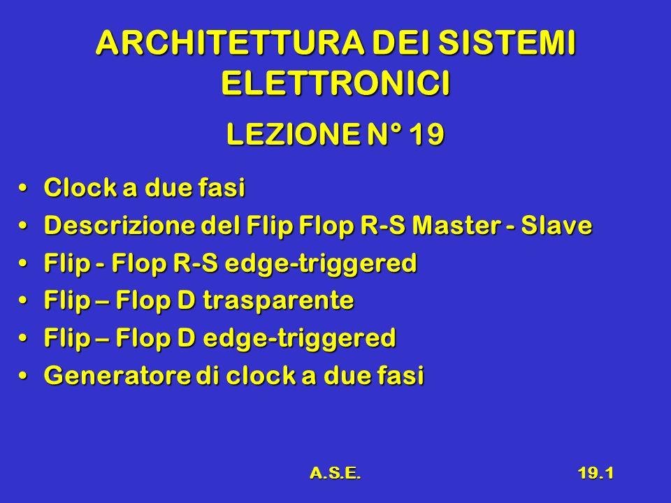 A.S.E.19.1 ARCHITETTURA DEI SISTEMI ELETTRONICI LEZIONE N° 19 Clock a due fasiClock a due fasi Descrizione del Flip Flop R-S Master - SlaveDescrizione