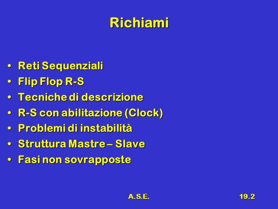 A.S.E.19.2 Richiami Reti SequenzialiReti Sequenziali Flip Flop R-SFlip Flop R-S Tecniche di descrizioneTecniche di descrizione R-S con abilitazione (C