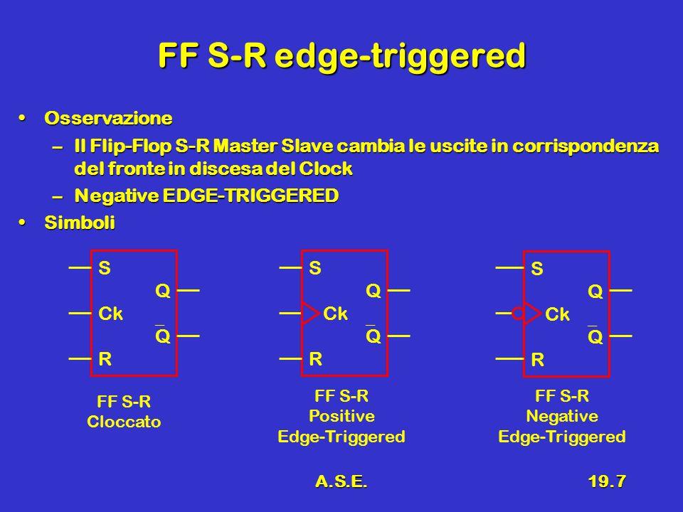 A.S.E.19.7 FF S-R edge-triggered OsservazioneOsservazione –Il Flip-Flop S-R Master Slave cambia le uscite in corrispondenza del fronte in discesa del