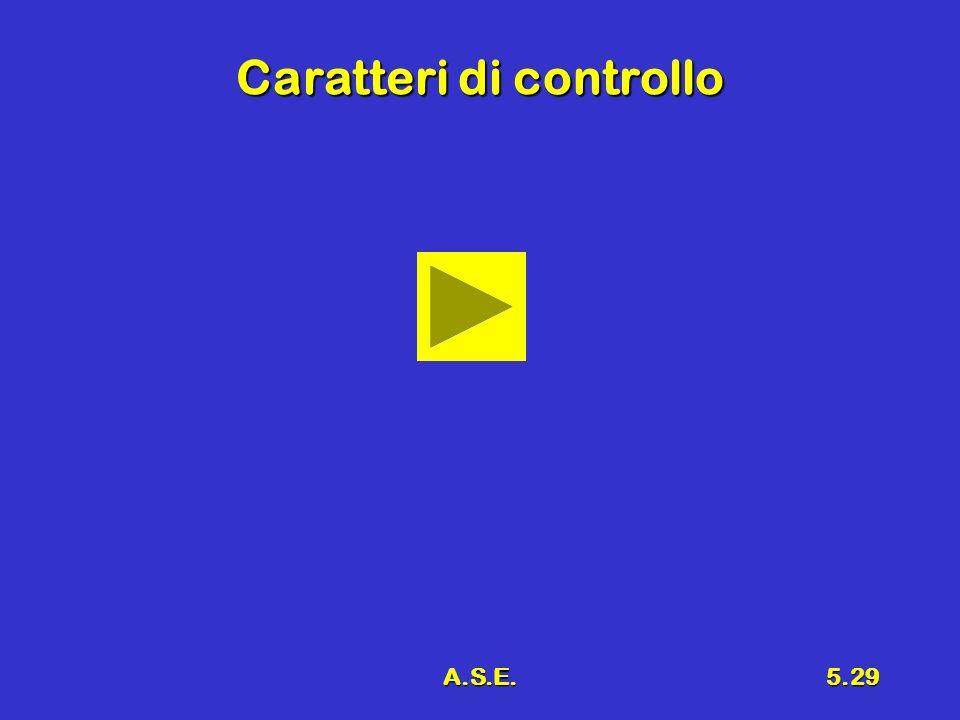 A.S.E.5.29 Caratteri di controllo