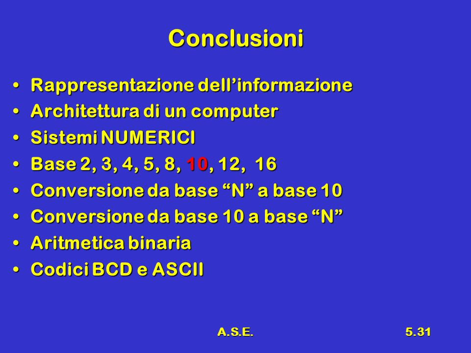 A.S.E.5.31 Conclusioni Rappresentazione dellinformazioneRappresentazione dellinformazione Architettura di un computerArchitettura di un computer Sistemi NUMERICISistemi NUMERICI Base 2, 3, 4, 5, 8, 10, 12, 16Base 2, 3, 4, 5, 8, 10, 12, 16 Conversione da base N a base 10Conversione da base N a base 10 Conversione da base 10 a base NConversione da base 10 a base N Aritmetica binariaAritmetica binaria Codici BCD e ASCIICodici BCD e ASCII