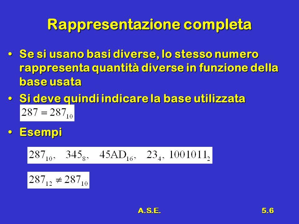 A.S.E.5.6 Rappresentazione completa Se si usano basi diverse, lo stesso numero rappresenta quantità diverse in funzione della base usataSe si usano ba
