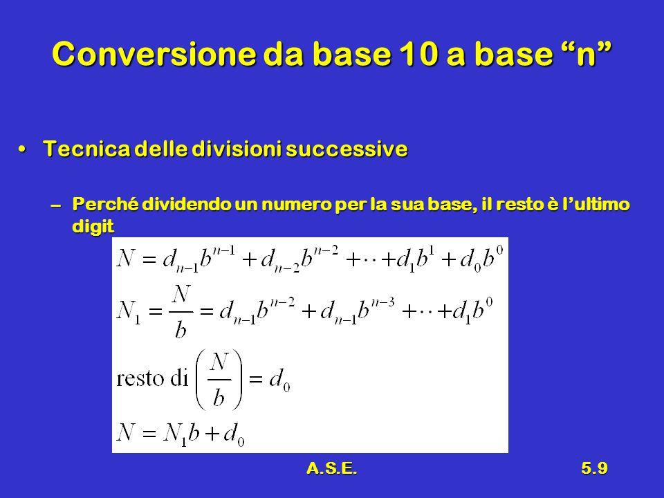 A.S.E.5.9 Conversione da base 10 a base n Tecnica delle divisioni successiveTecnica delle divisioni successive –Perché dividendo un numero per la sua base, il resto è lultimo digit