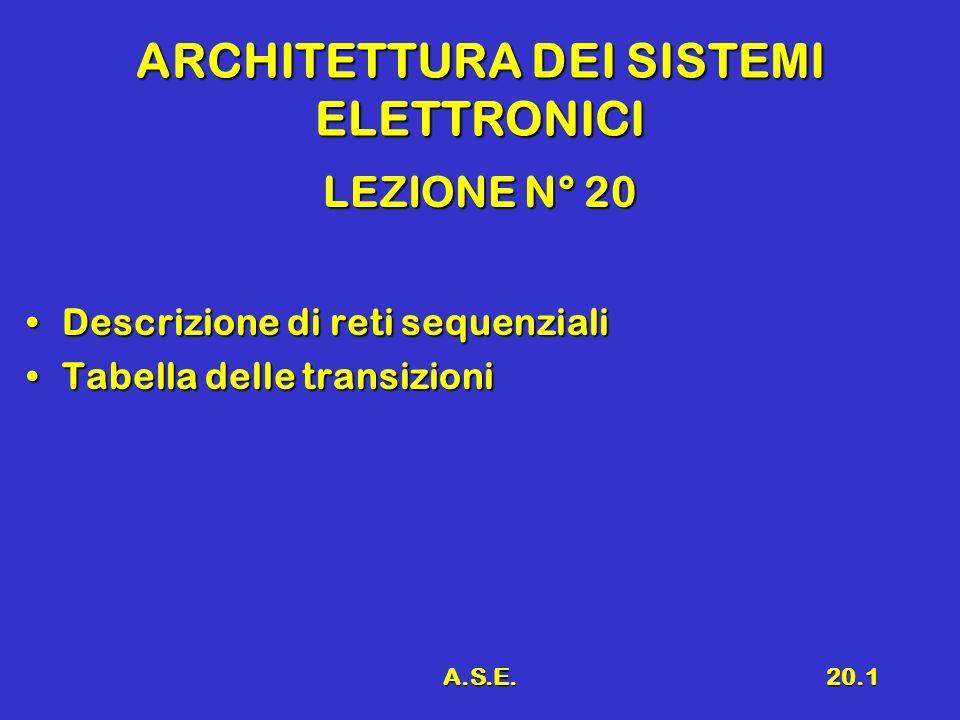 A.S.E.20.1 ARCHITETTURA DEI SISTEMI ELETTRONICI LEZIONE N° 20 Descrizione di reti sequenzialiDescrizione di reti sequenziali Tabella delle transizioni