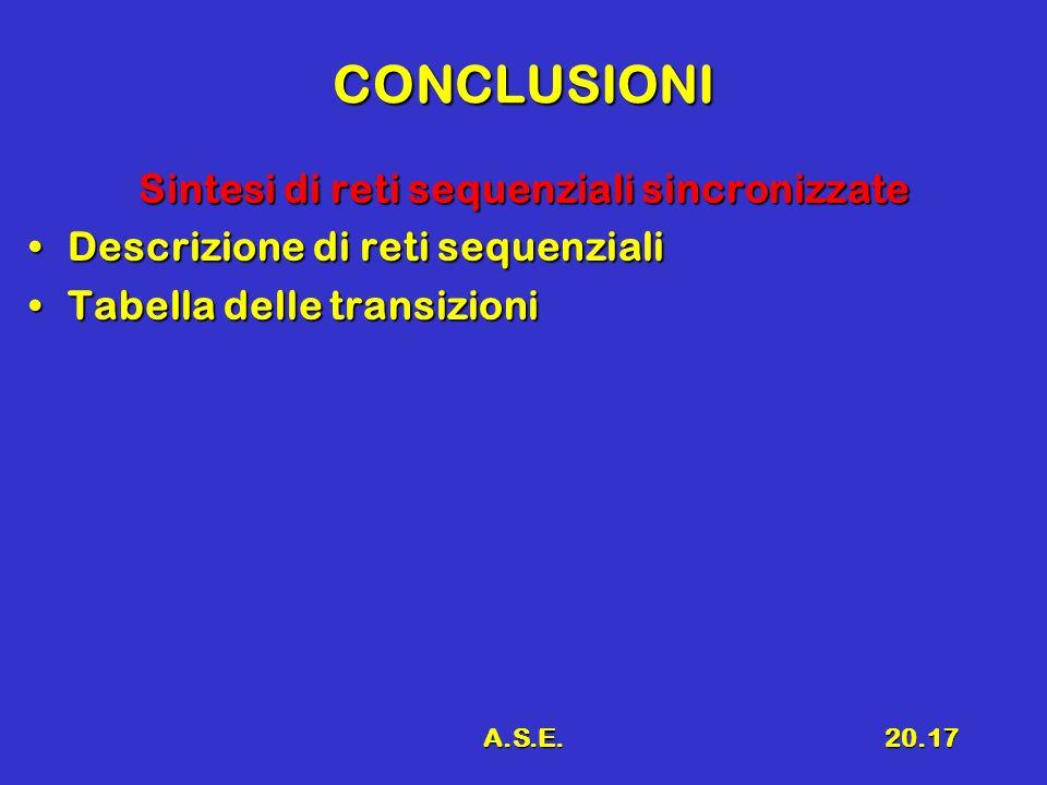 A.S.E.20.17 CONCLUSIONI Sintesi di reti sequenziali sincronizzate Descrizione di reti sequenzialiDescrizione di reti sequenziali Tabella delle transiz