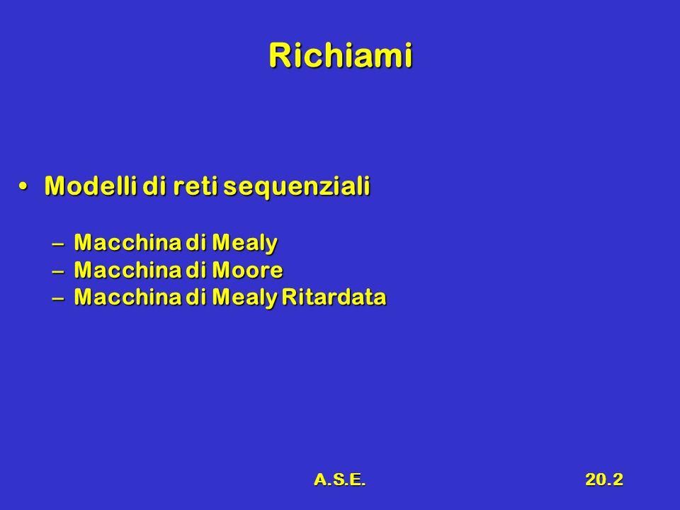 A.S.E.20.2 Richiami Modelli di reti sequenzialiModelli di reti sequenziali –Macchina di Mealy –Macchina di Moore –Macchina di Mealy Ritardata