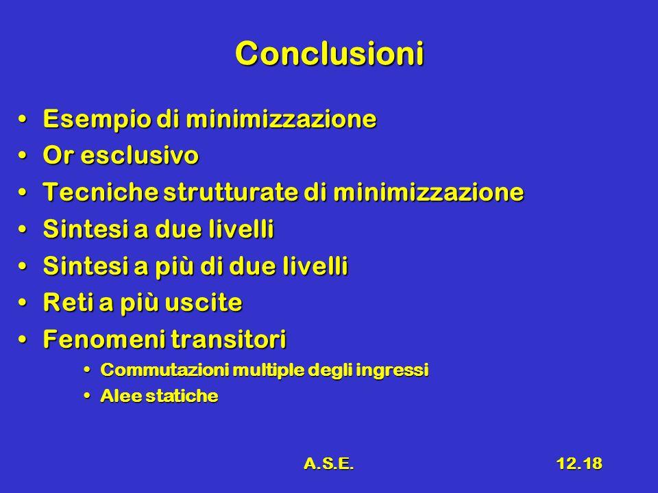 A.S.E.12.18 Conclusioni Esempio di minimizzazioneEsempio di minimizzazione Or esclusivoOr esclusivo Tecniche strutturate di minimizzazioneTecniche strutturate di minimizzazione Sintesi a due livelliSintesi a due livelli Sintesi a più di due livelliSintesi a più di due livelli Reti a più usciteReti a più uscite Fenomeni transitoriFenomeni transitori Commutazioni multiple degli ingressiCommutazioni multiple degli ingressi Alee staticheAlee statiche