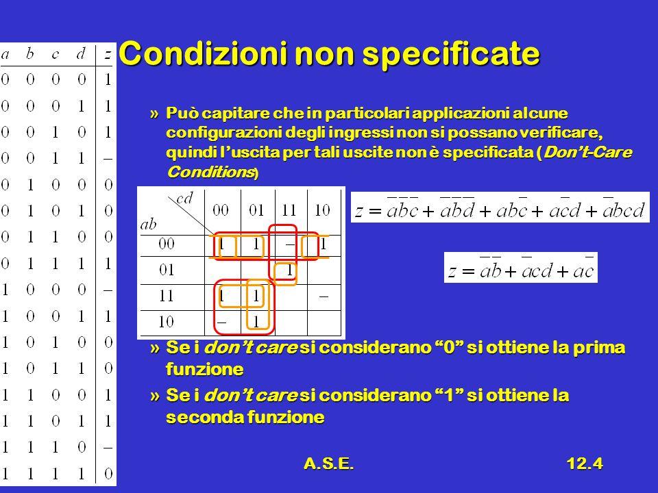 A.S.E.12.4 Condizioni non specificate »Può capitare che in particolari applicazioni alcune configurazioni degli ingressi non si possano verificare, quindi luscita per tali uscite non è specificata (Dont-Care Conditions ) »Se i dont care si considerano 0 si ottiene la prima funzione »Se i dont care si considerano 1 si ottiene la seconda funzione