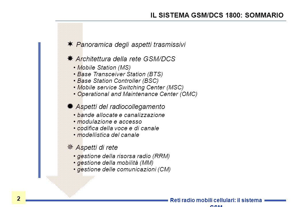 2 2 Reti radio mobili cellulari: il sistema GSM IL SISTEMA GSM/DCS 1800: SOMMARIO Panoramica degli aspetti trasmissivi Architettura della rete GSM/DCS