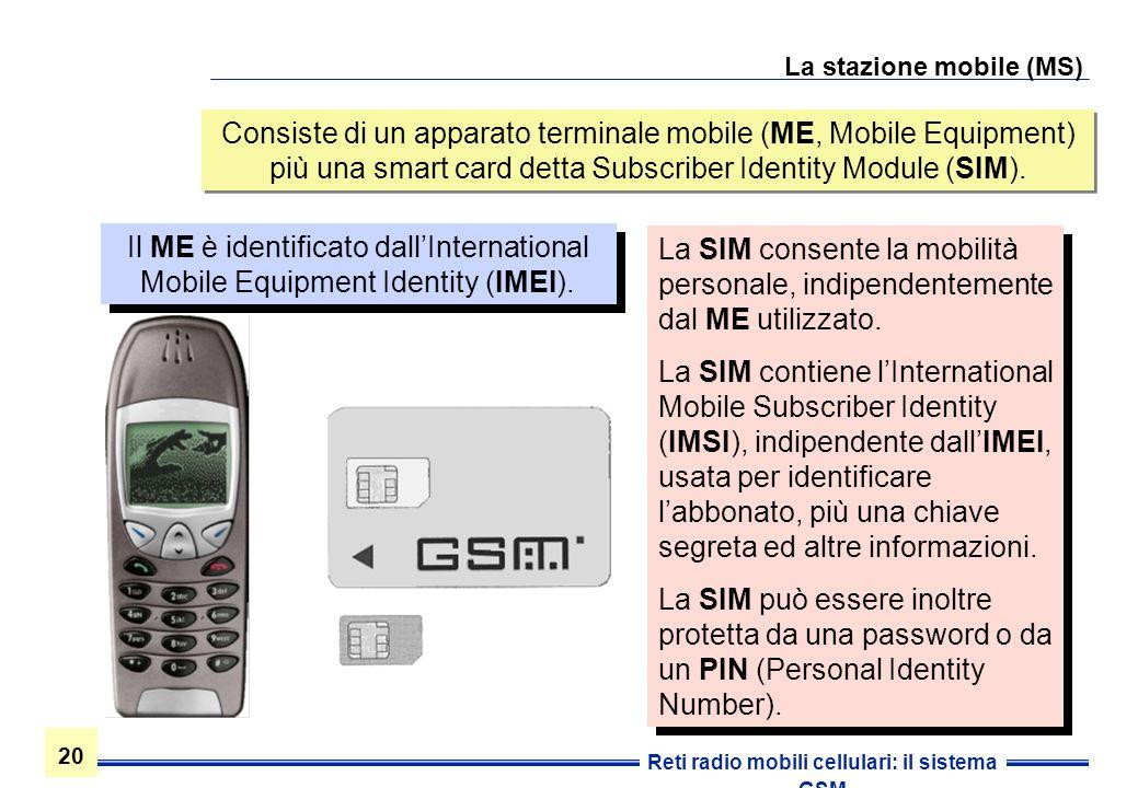 20 Reti radio mobili cellulari: il sistema GSM La stazione mobile (MS) Consiste di un apparato terminale mobile (ME, Mobile Equipment) più una smart c