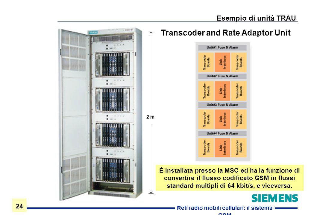 24 Reti radio mobili cellulari: il sistema GSM Esempio di unità TRAU Transcoder and Rate Adaptor Unit È installata presso la MSC ed ha la funzione di