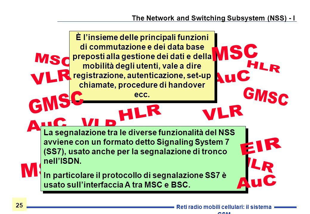 25 Reti radio mobili cellulari: il sistema GSM The Network and Switching Subsystem (NSS) - I È linsieme delle principali funzioni di commutazione e de