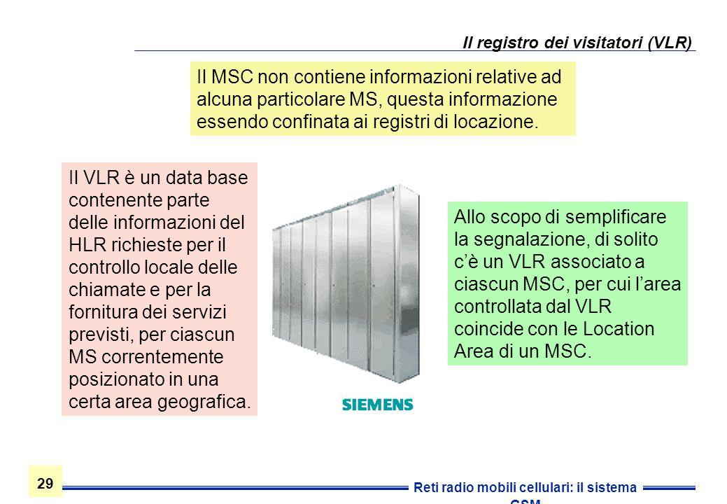 29 Reti radio mobili cellulari: il sistema GSM Il registro dei visitatori (VLR) Il MSC non contiene informazioni relative ad alcuna particolare MS, qu