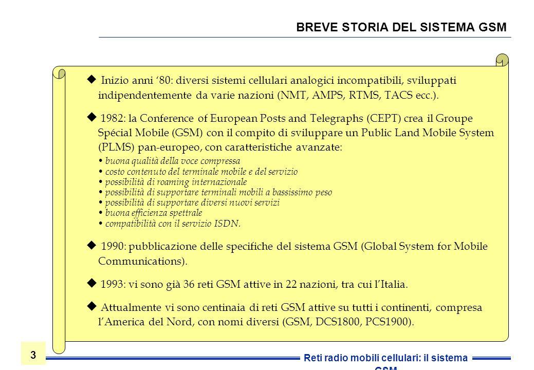 3 3 Reti radio mobili cellulari: il sistema GSM BREVE STORIA DEL SISTEMA GSM Inizio anni 80: diversi sistemi cellulari analogici incompatibili, svilup