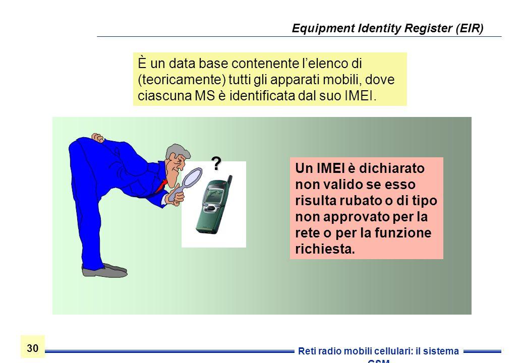 30 Reti radio mobili cellulari: il sistema GSM Un IMEI è dichiarato non valido se esso risulta rubato o di tipo non approvato per la rete o per la fun