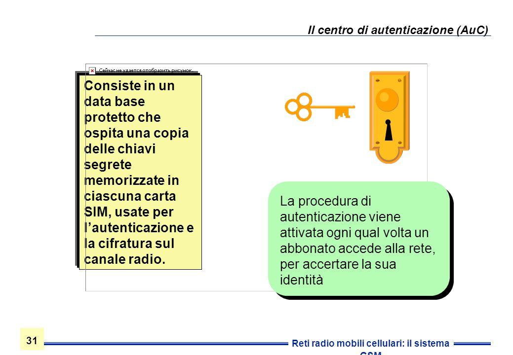 31 Reti radio mobili cellulari: il sistema GSM Il centro di autenticazione (AuC) Consiste in un data base protetto che ospita una copia delle chiavi s