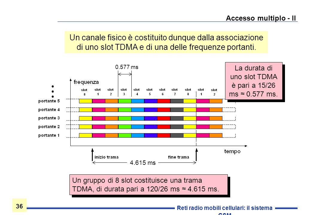 36 Reti radio mobili cellulari: il sistema GSM Accesso multiplo - II Un gruppo di 8 slot costituisce una trama TDMA, di durata pari a 120/26 ms 4.615
