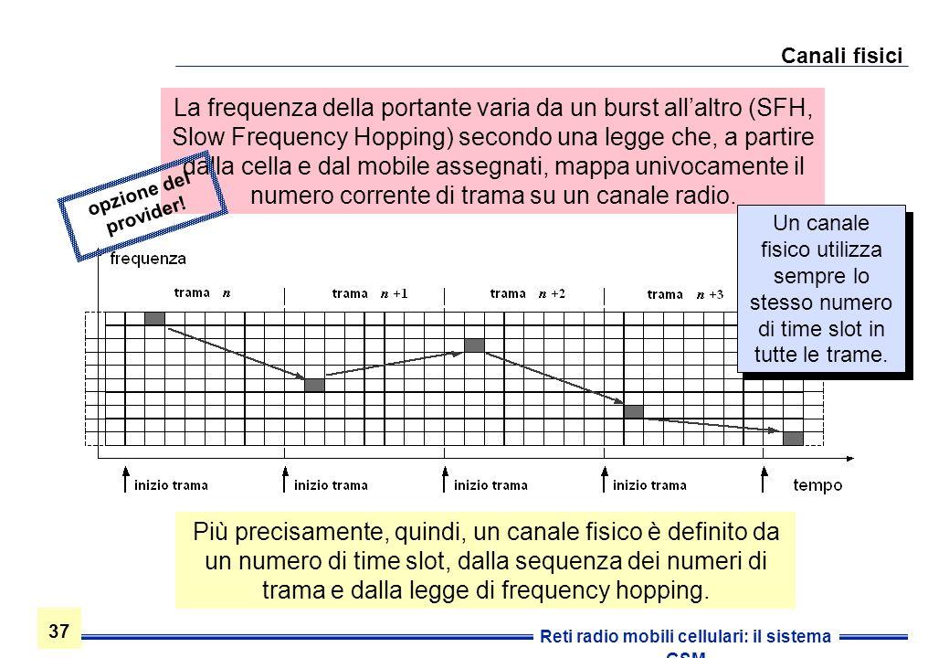 37 Reti radio mobili cellulari: il sistema GSM Canali fisici Più precisamente, quindi, un canale fisico è definito da un numero di time slot, dalla se