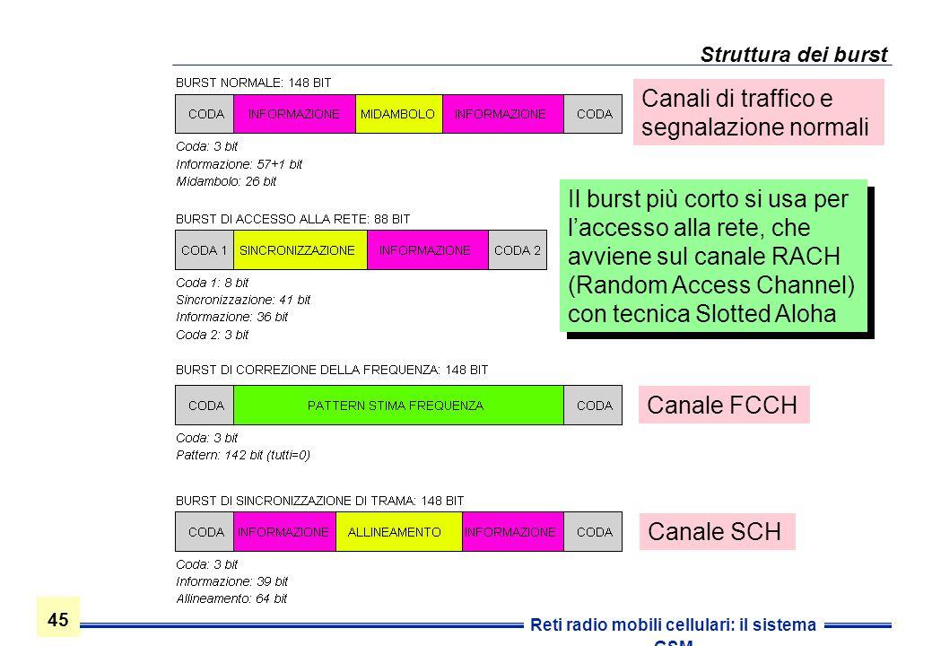 45 Reti radio mobili cellulari: il sistema GSM Struttura dei burst Il burst più corto si usa per laccesso alla rete, che avviene sul canale RACH (Rand