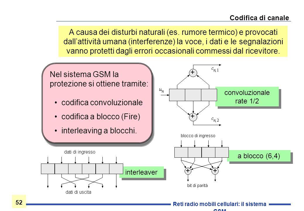 52 Reti radio mobili cellulari: il sistema GSM Codifica di canale A causa dei disturbi naturali (es. rumore termico) e provocati dallattività umana (i