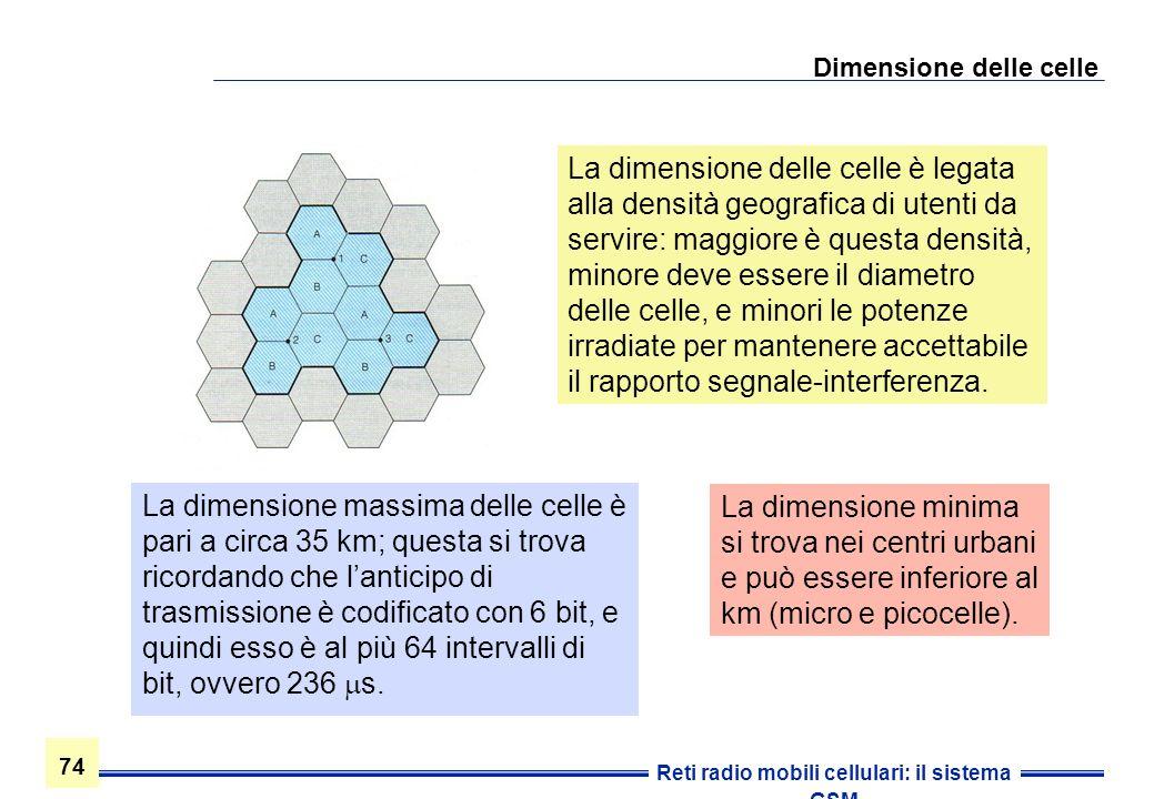 74 Reti radio mobili cellulari: il sistema GSM Dimensione delle celle La dimensione delle celle è legata alla densità geografica di utenti da servire: