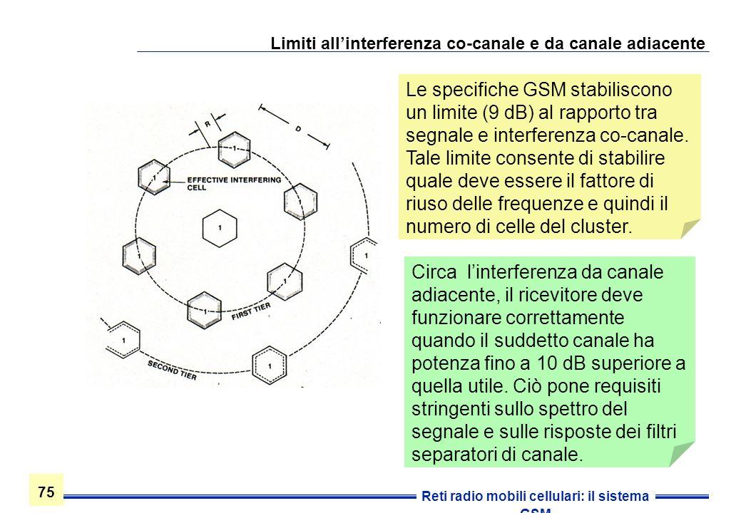 75 Reti radio mobili cellulari: il sistema GSM Limiti allinterferenza co-canale e da canale adiacente Le specifiche GSM stabiliscono un limite (9 dB)