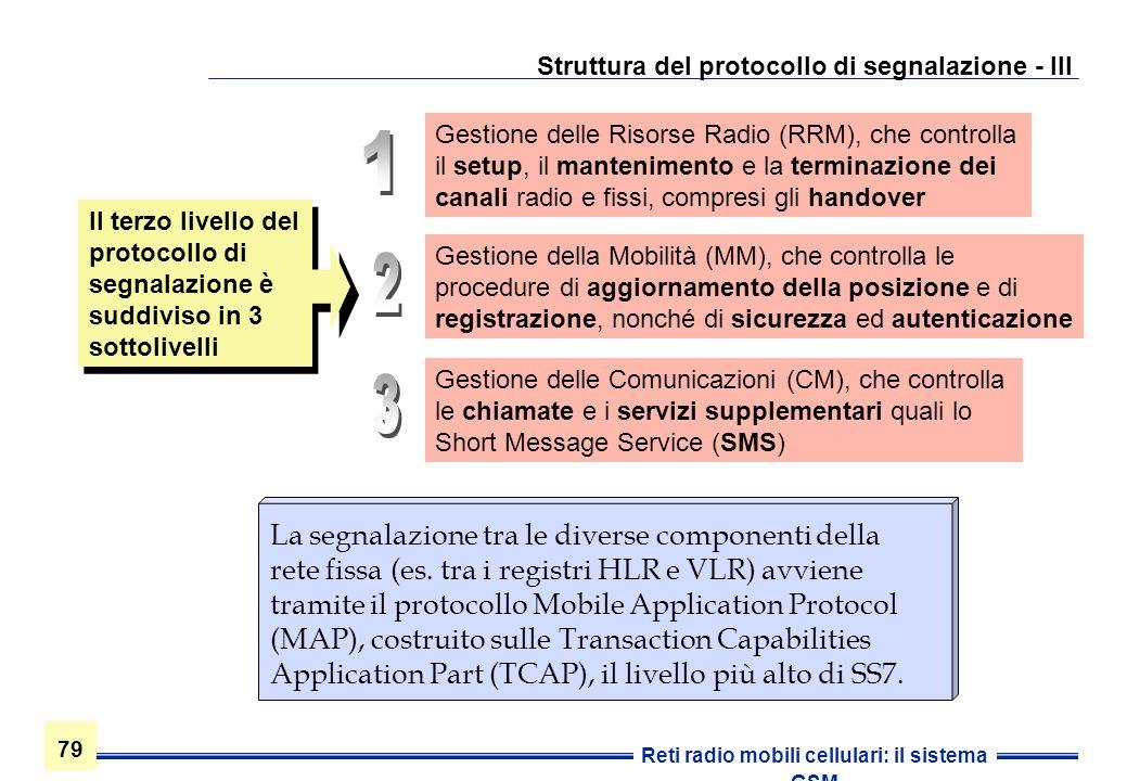 79 Reti radio mobili cellulari: il sistema GSM Struttura del protocollo di segnalazione - III La segnalazione tra le diverse componenti della rete fis