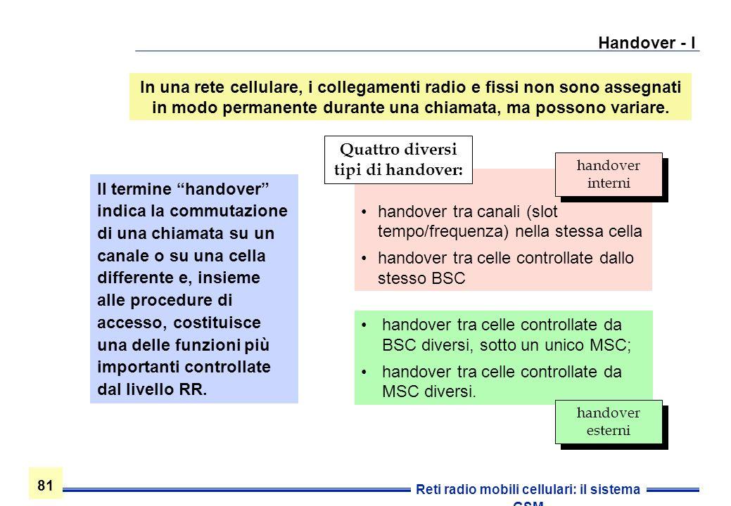 81 Reti radio mobili cellulari: il sistema GSM Handover - I handover tra celle controllate da BSC diversi, sotto un unico MSC; handover tra celle cont