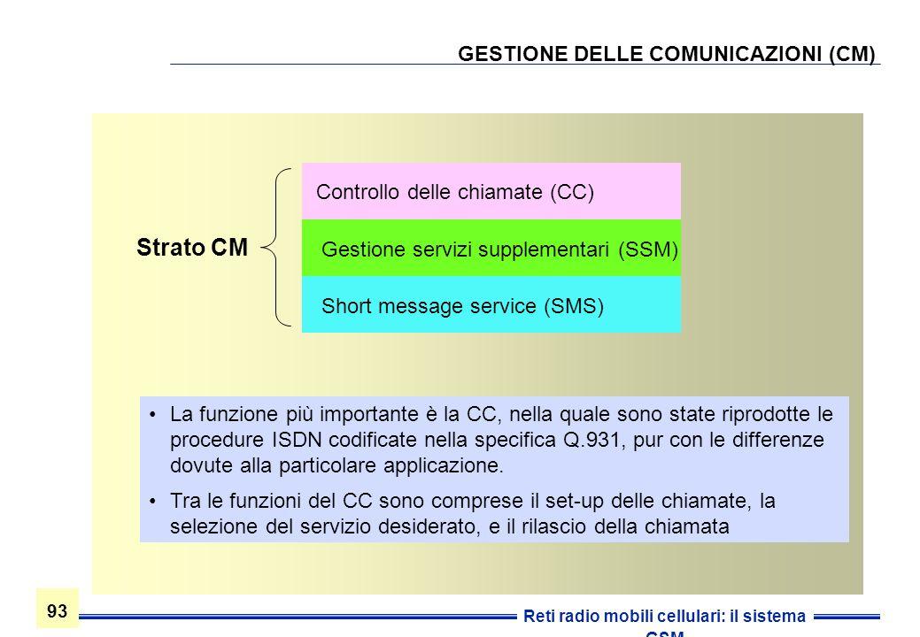 93 Reti radio mobili cellulari: il sistema GSM GESTIONE DELLE COMUNICAZIONI (CM) Strato CM Controllo delle chiamate (CC) Gestione servizi supplementar