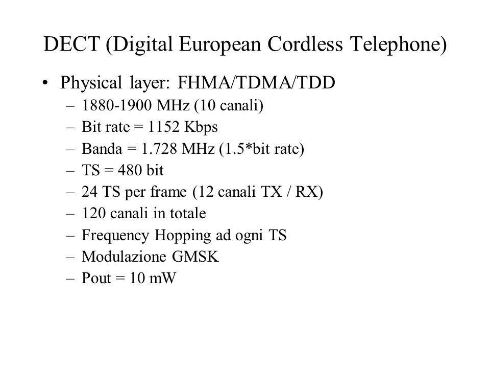 IS-95 (Interim Standard 95) Caratteristiche –area geografica USA –convive con AMPS (transceiver duali) –bit rate variabile (min 1200 / max 9600 bps) –chip rate fisso (1.228 MHz) –Processing gain 128 –Sincronismo BS tramite GPS –Controllo continuo della potenza (effetto cattura)