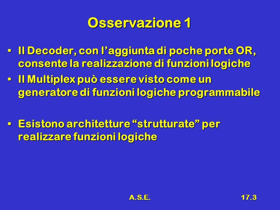 A.S.E.17.3 Osservazione 1 Il Decoder, con laggiunta di poche porte OR, consente la realizzazione di funzioni logicheIl Decoder, con laggiunta di poche
