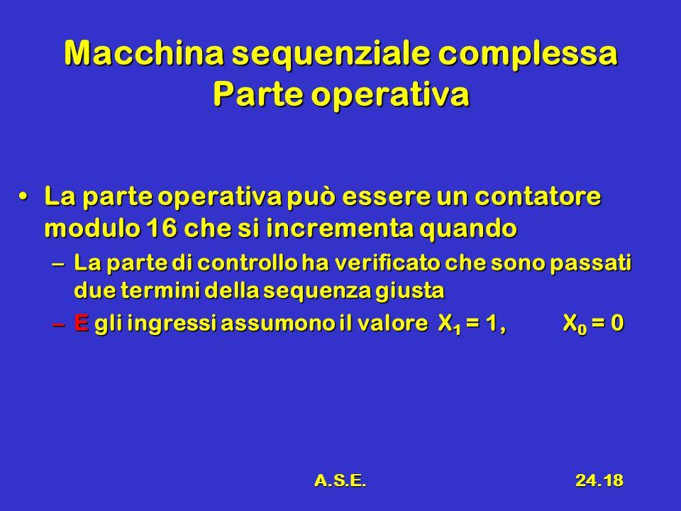A.S.E.24.18 Macchina sequenziale complessa Parte operativa La parte operativa può essere un contatore modulo 16 che si incrementa quandoLa parte opera