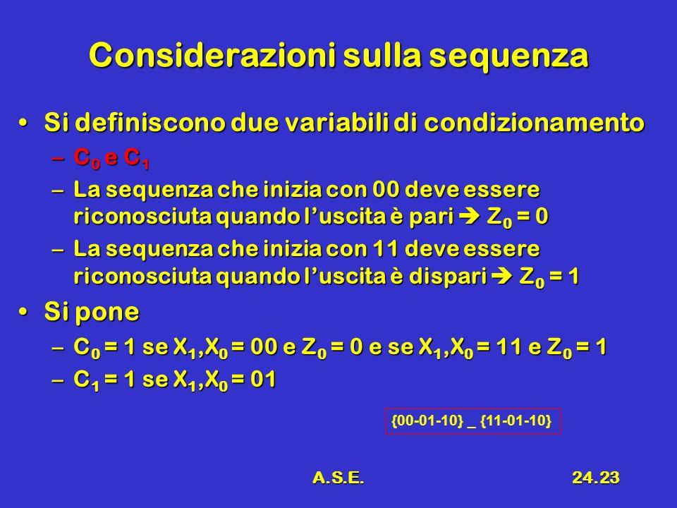 A.S.E.24.23 Considerazioni sulla sequenza Si definiscono due variabili di condizionamentoSi definiscono due variabili di condizionamento –C 0 e C 1 –L