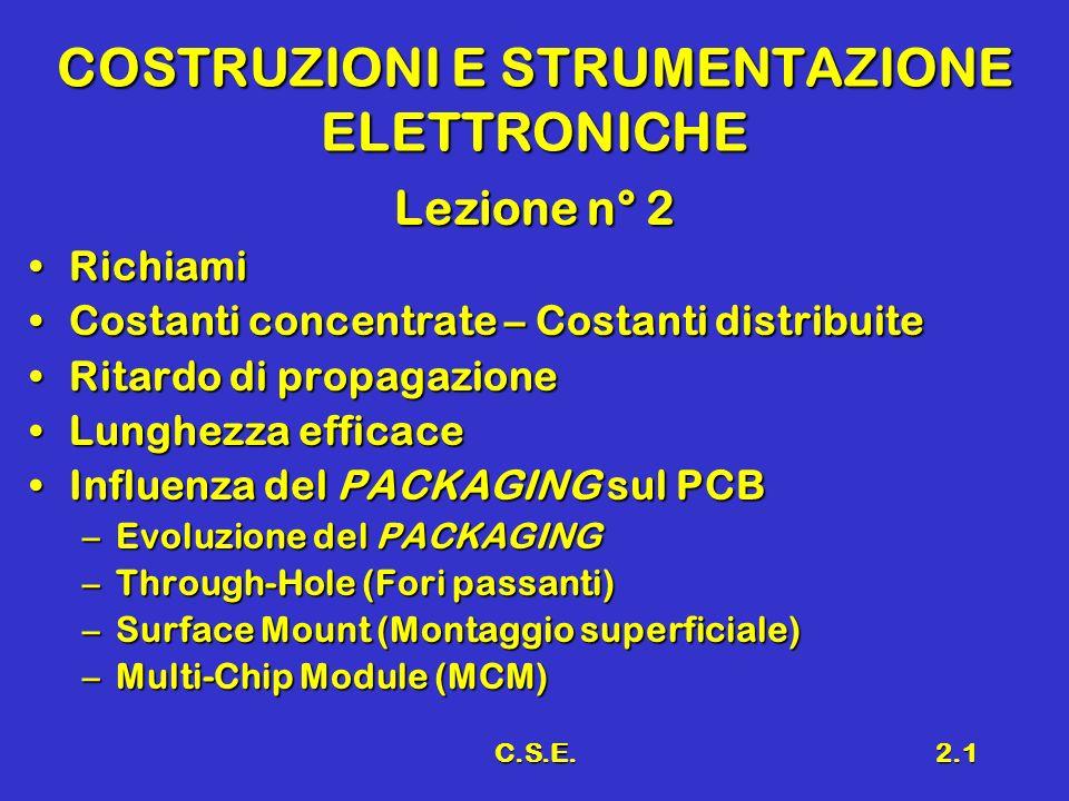 C.S.E.2.1 COSTRUZIONI E STRUMENTAZIONE ELETTRONICHE Lezione n° 2 RichiamiRichiami Costanti concentrate – Costanti distribuiteCostanti concentrate – Co