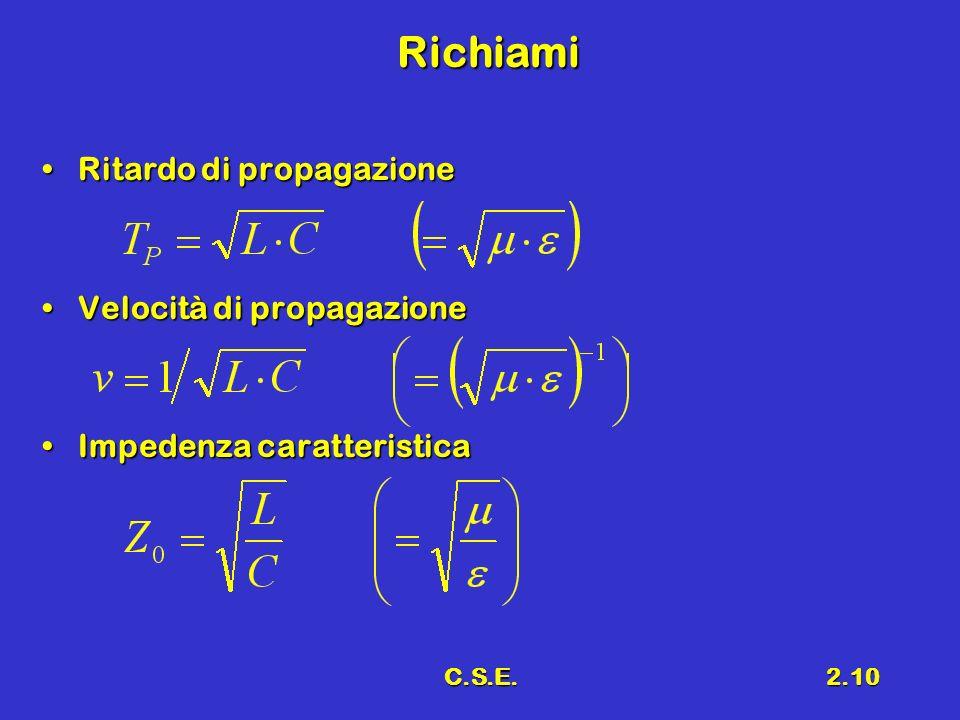 C.S.E.2.10 Richiami Ritardo di propagazioneRitardo di propagazione Velocità di propagazioneVelocità di propagazione Impedenza caratteristicaImpedenza