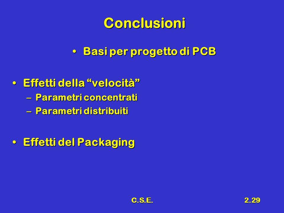C.S.E.2.29 Conclusioni Basi per progetto di PCBBasi per progetto di PCB Effetti della velocitàEffetti della velocità –Parametri concentrati –Parametri