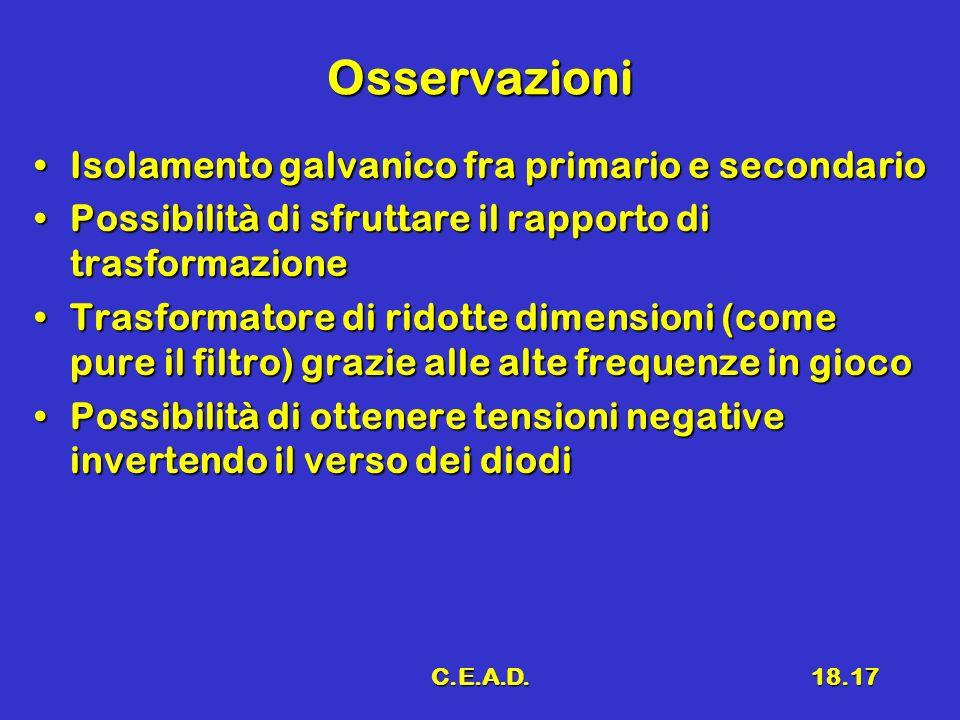 C.E.A.D.18.17 Osservazioni Isolamento galvanico fra primario e secondarioIsolamento galvanico fra primario e secondario Possibilità di sfruttare il ra