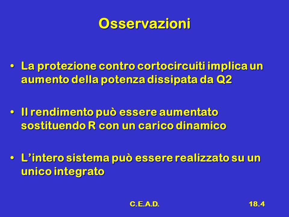 C.E.A.D.18.4 Osservazioni La protezione contro cortocircuiti implica un aumento della potenza dissipata da Q2La protezione contro cortocircuiti implic