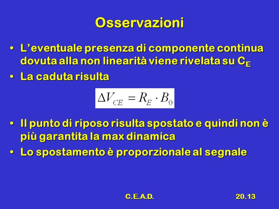 C.E.A.D.20.13 Osservazioni Leventuale presenza di componente continua dovuta alla non linearità viene rivelata su C ELeventuale presenza di componente continua dovuta alla non linearità viene rivelata su C E La caduta risultaLa caduta risulta Il punto di riposo risulta spostato e quindi non è più garantita la max dinamicaIl punto di riposo risulta spostato e quindi non è più garantita la max dinamica Lo spostamento è proporzionale al segnaleLo spostamento è proporzionale al segnale