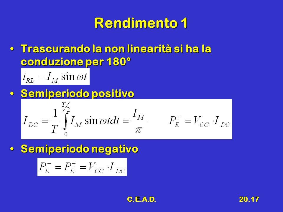 C.E.A.D.20.17 Rendimento 1 Trascurando la non linearità si ha la conduzione per 180°Trascurando la non linearità si ha la conduzione per 180° Semiperiodo positivoSemiperiodo positivo Semiperiodo negativoSemiperiodo negativo
