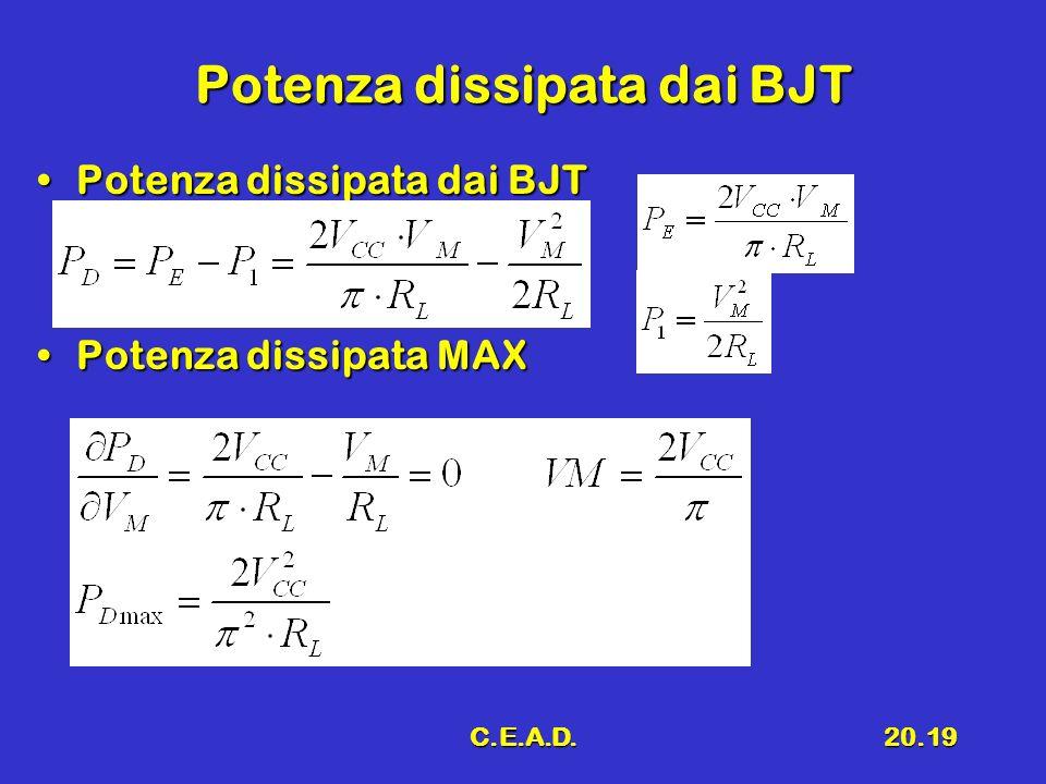 C.E.A.D.20.19 Potenza dissipata dai BJT Potenza dissipata dai BJTPotenza dissipata dai BJT Potenza dissipata MAXPotenza dissipata MAX