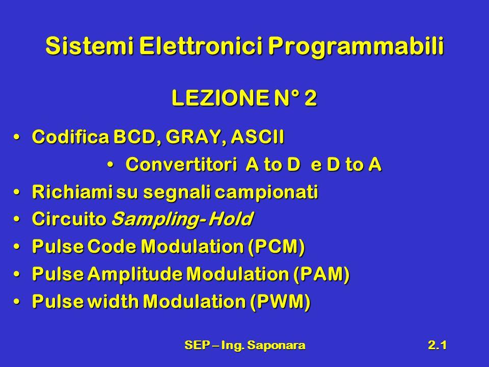 SEP – Ing. Saponara2.1 Sistemi Elettronici Programmabili LEZIONE N° 2 Codifica BCD, GRAY, ASCIICodifica BCD, GRAY, ASCII Convertitori A to D e D to AC