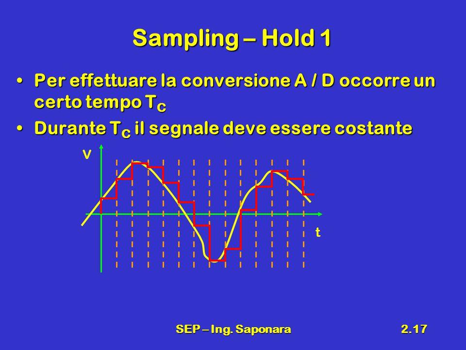 SEP – Ing. Saponara2.17 Sampling – Hold 1 Per effettuare la conversione A / D occorre un certo tempo T CPer effettuare la conversione A / D occorre un