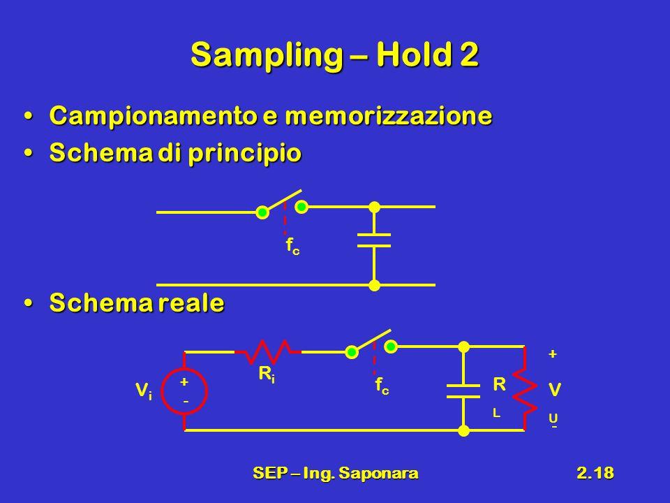 SEP – Ing. Saponara2.18 Sampling – Hold 2 Campionamento e memorizzazioneCampionamento e memorizzazione Schema di principioSchema di principio Schema r