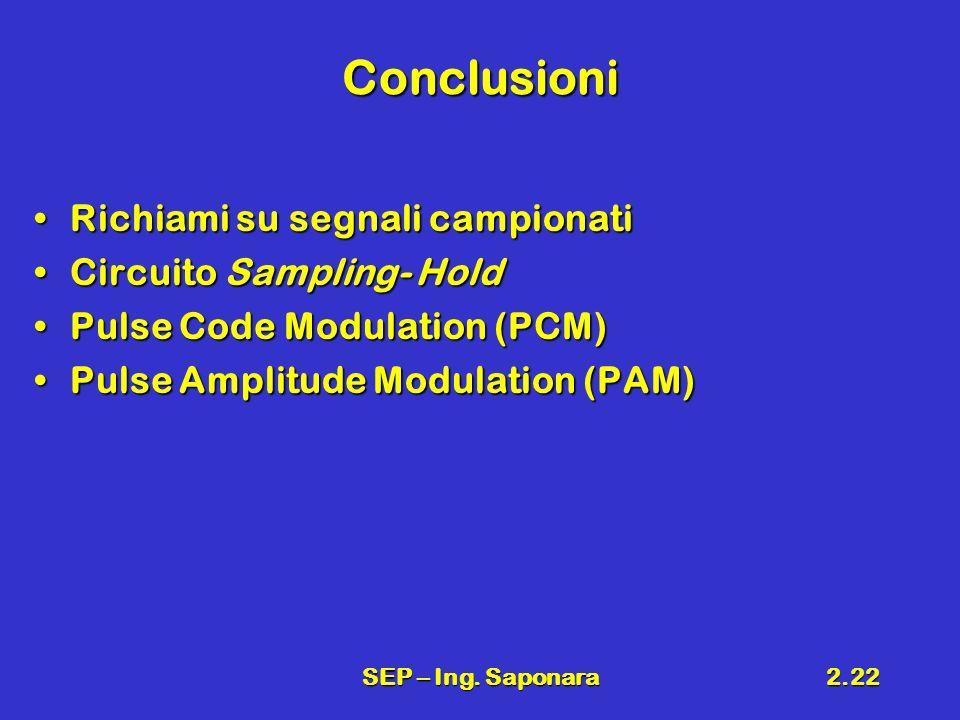 SEP – Ing. Saponara2.22 Conclusioni Richiami su segnali campionatiRichiami su segnali campionati Circuito Sampling- HoldCircuito Sampling- Hold Pulse